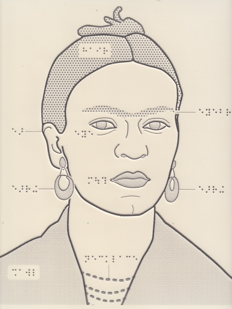 swell paper tactile drawing of Frida Kahlo with outlines and braille labels