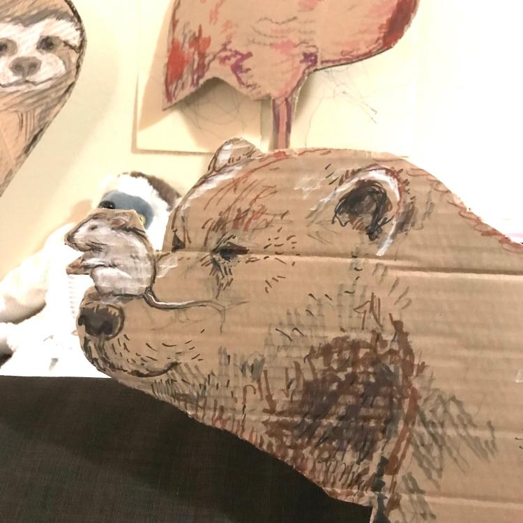Cardboard bear drawing