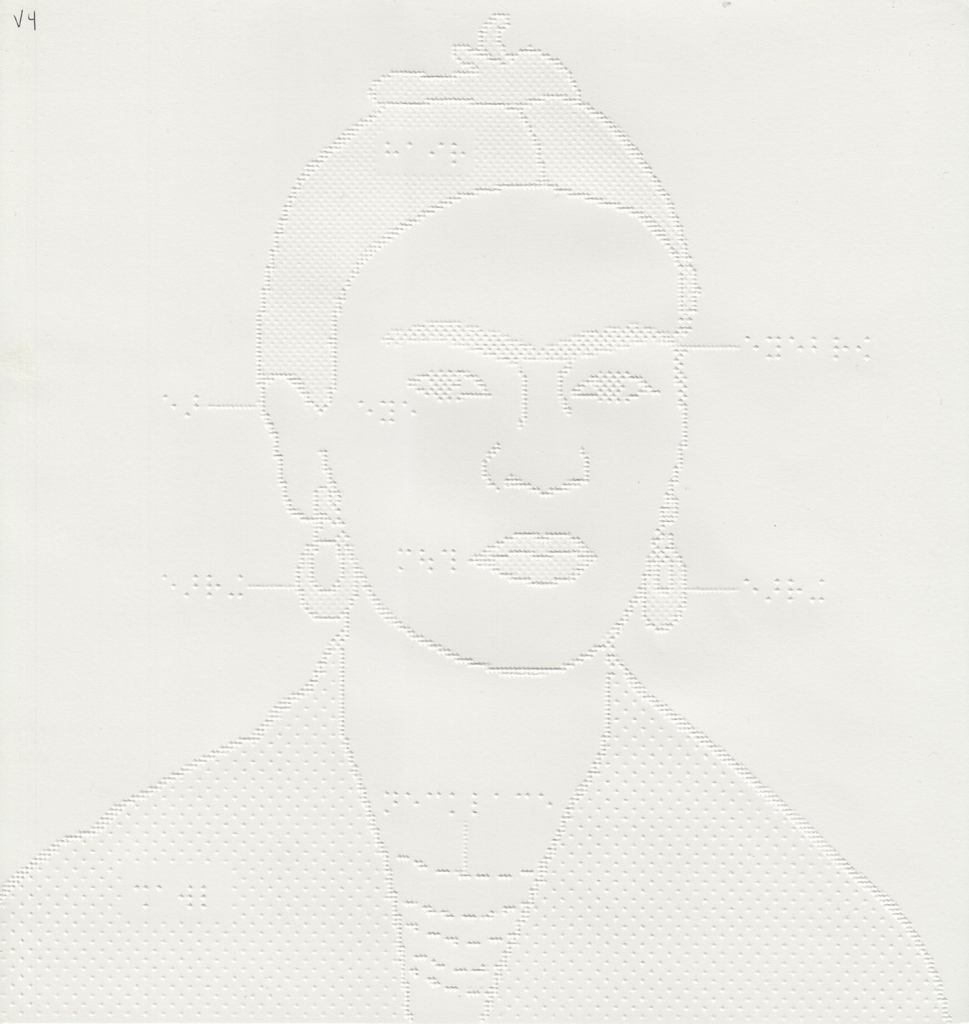 embossed paper tactile drawing of Frida Kahlo with outlines and braille labels