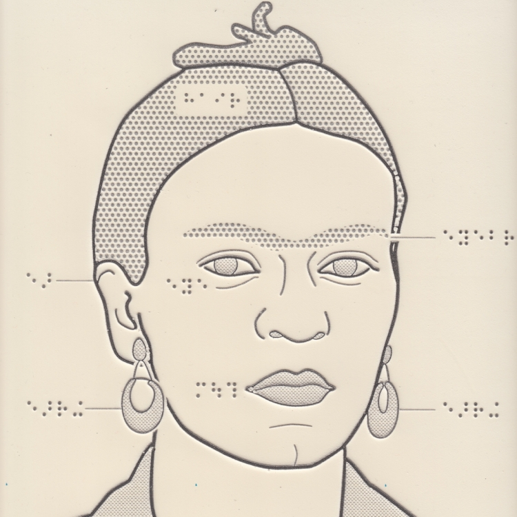 Tactile drawing of Frida Kahlo with braille labels.