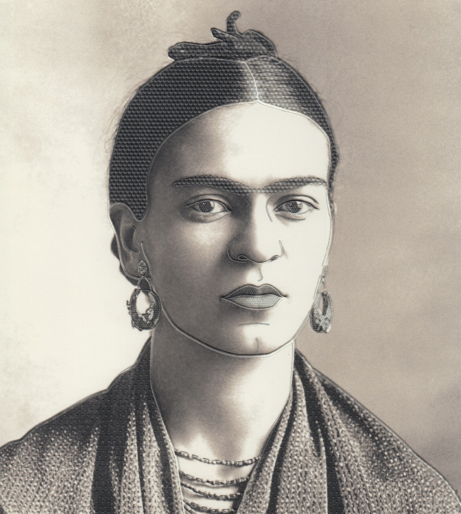 UV-printed tactile drawing of Frida Kahlo with outlines